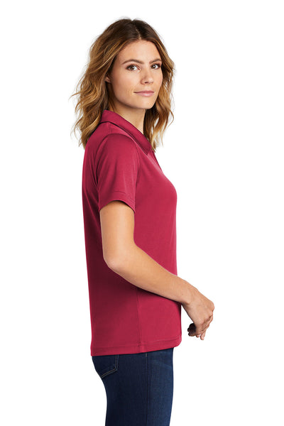 Sport-Tek L469 Womens Dri-Mesh Moisture Wicking Short Sleeve Polo Shirt Red Side