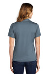 Sport-Tek L469 Womens Dri-Mesh Moisture Wicking Short Sleeve Polo Shirt Steel Grey Back