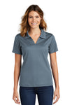 Sport-Tek L469 Womens Dri-Mesh Moisture Wicking Short Sleeve Polo Shirt Steel Grey Front