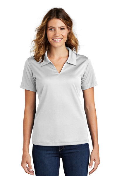 Sport-Tek L469 Womens Dri-Mesh Moisture Wicking Short Sleeve Polo Shirt White Front