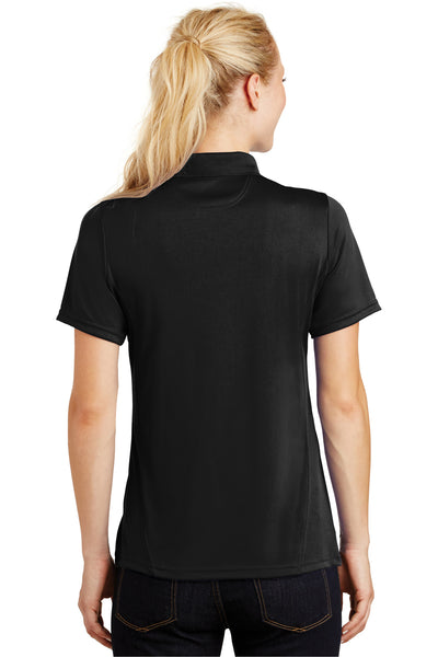 Sport-Tek L475 Womens Dry Zone Moisture Wicking Short Sleeve Polo Shirt Black Back