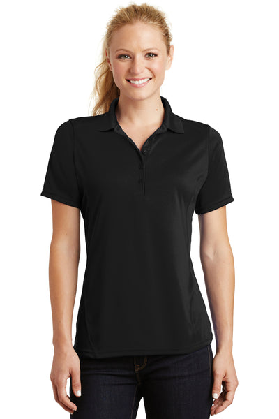 Sport-Tek L475 Womens Dry Zone Moisture Wicking Short Sleeve Polo Shirt Black Front