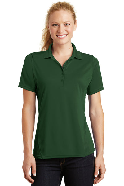 Sport-Tek L475 Womens Dry Zone Moisture Wicking Short Sleeve Polo Shirt Forest Green Front