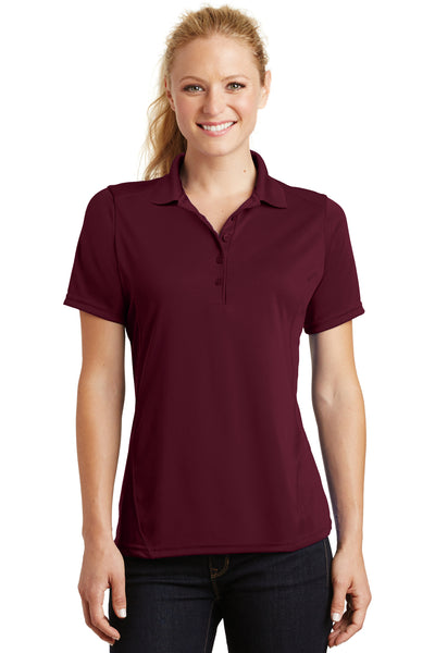 Sport-Tek L475 Womens Dry Zone Moisture Wicking Short Sleeve Polo Shirt Maroon Front