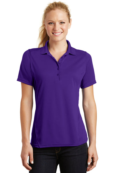 Sport-Tek L475 Womens Dry Zone Moisture Wicking Short Sleeve Polo Shirt Purple Front