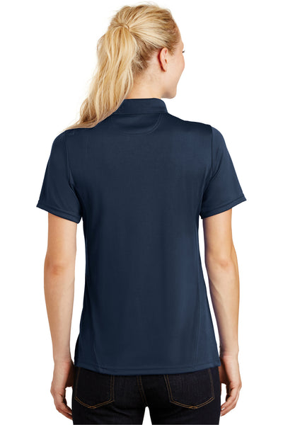 Sport-Tek L475 Womens Dry Zone Moisture Wicking Short Sleeve Polo Shirt Navy Blue Back
