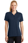 Sport-Tek L475 Womens Dry Zone Moisture Wicking Short Sleeve Polo Shirt Navy Blue Front