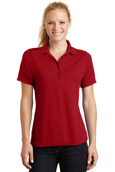 Sport-Tek L475 Womens Dry Zone Moisture Wicking Short Sleeve Polo Shirt Red Front