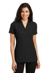 Port Authority L5001 Womens Silk Touch Wrinkle Resistant Short Sleeve Polo Shirt Black Front