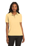 Port Authority L500 Womens Silk Touch Wrinkle Resistant Short Sleeve Polo Shirt Yellow Front