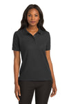Port Authority L500 Womens Silk Touch Wrinkle Resistant Short Sleeve Polo Shirt Black Front