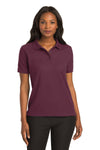 Port Authority L500 Womens Silk Touch Wrinkle Resistant Short Sleeve Polo Shirt Burgundy Front
