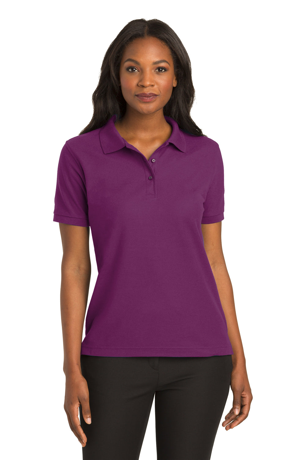 White Port Authority Ladies Silk Touch 3//4-Sleeve Polo Medium