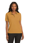 Port Authority L500 Womens Silk Touch Wrinkle Resistant Short Sleeve Polo Shirt Gold Front