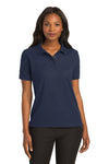 Port Authority L500 Womens Silk Touch Wrinkle Resistant Short Sleeve Polo Shirt Navy Blue Front