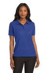 Port Authority L500 Womens Silk Touch Wrinkle Resistant Short Sleeve Polo Shirt Royal Blue Front