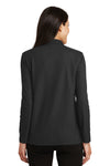 Port Authority L500LS Womens Silk Touch Wrinkle Resistant Long Sleeve Polo Shirt Black Back