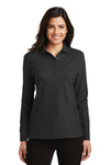 Port Authority L500LS Womens Silk Touch Wrinkle Resistant Long Sleeve Polo Shirt Black Front