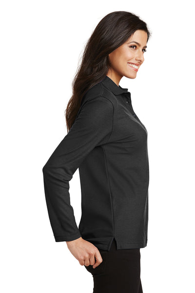 Port Authority L500LS Womens Silk Touch Wrinkle Resistant Long Sleeve Polo Shirt Black Side