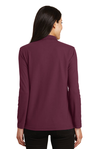 Port Authority L500LS Womens Silk Touch Wrinkle Resistant Long Sleeve Polo Shirt Burgundy Back