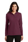 Port Authority L500LS Womens Silk Touch Wrinkle Resistant Long Sleeve Polo Shirt Burgundy Front