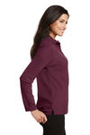 Port Authority L500LS Womens Silk Touch Wrinkle Resistant Long Sleeve Polo Shirt Burgundy Side
