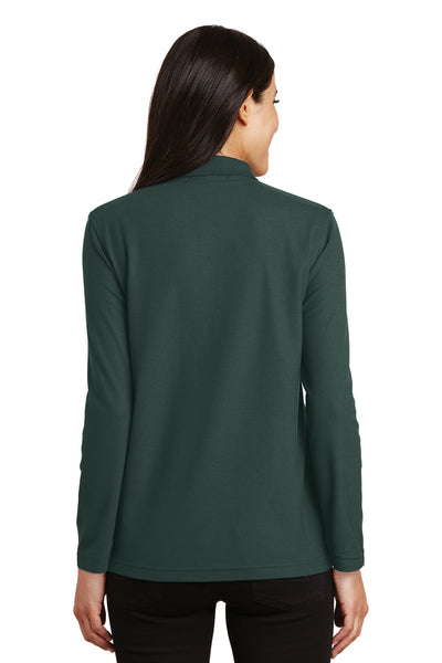 Port Authority L500LS Womens Silk Touch Wrinkle Resistant Long Sleeve Polo Shirt Dark Green Back