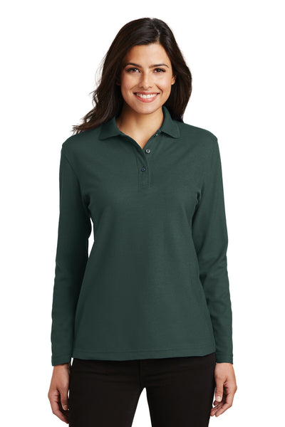 Port Authority L500LS Womens Silk Touch Wrinkle Resistant Long Sleeve Polo Shirt Dark Green Front