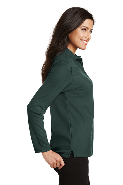 Port Authority L500LS Womens Silk Touch Wrinkle Resistant Long Sleeve Polo Shirt Dark Green Side