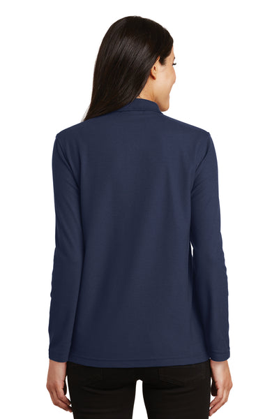Port Authority L500LS Womens Silk Touch Wrinkle Resistant Long Sleeve Polo Shirt Navy Blue Back