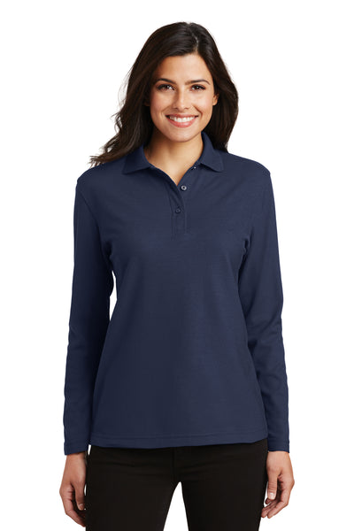 Port Authority L500LS Womens Silk Touch Wrinkle Resistant Long Sleeve Polo Shirt Navy Blue Front