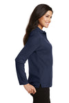 Port Authority L500LS Womens Silk Touch Wrinkle Resistant Long Sleeve Polo Shirt Navy Blue Side