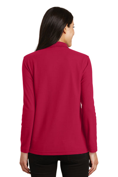 Port Authority L500LS Womens Silk Touch Wrinkle Resistant Long Sleeve Polo Shirt Red Back