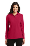 Port Authority L500LS Womens Silk Touch Wrinkle Resistant Long Sleeve Polo Shirt Red Front