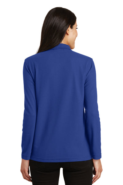 Port Authority L500LS Womens Silk Touch Wrinkle Resistant Long Sleeve Polo Shirt Royal Blue Back