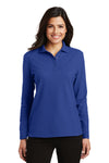 Port Authority L500LS Womens Silk Touch Wrinkle Resistant Long Sleeve Polo Shirt Royal Blue Front
