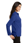 Port Authority L500LS Womens Silk Touch Wrinkle Resistant Long Sleeve Polo Shirt Royal Blue Side