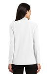 Port Authority L500LS Womens Silk Touch Wrinkle Resistant Long Sleeve Polo Shirt White Back