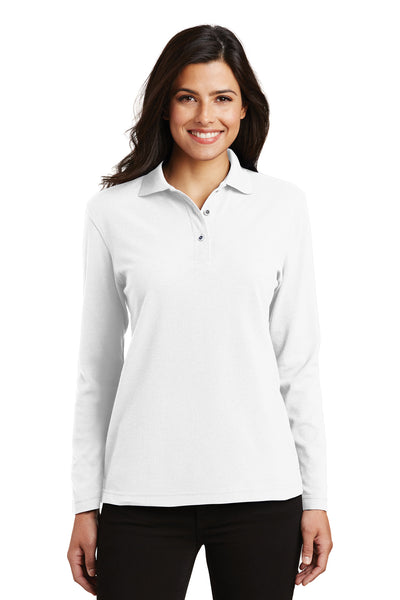 Port Authority L500LS Womens Silk Touch Wrinkle Resistant Long Sleeve Polo Shirt White Front