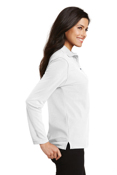 Port Authority L500LS Womens Silk Touch Wrinkle Resistant Long Sleeve Polo Shirt White Side