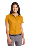 Port Authority L508 Womens Easy Care Wrinkle Resistant Short Sleeve Button Down Shirt Gold Front