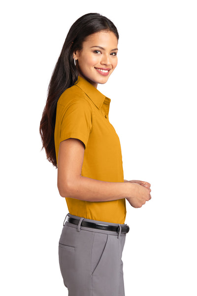 Port Authority L508 Womens Easy Care Wrinkle Resistant Short Sleeve Button Down Shirt Gold Side