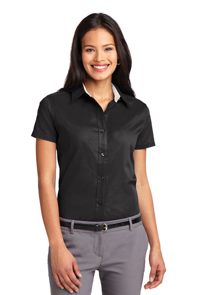 Port Authority L508 Womens Easy Care Wrinkle Resistant Short Sleeve Button Down Shirt Black Front