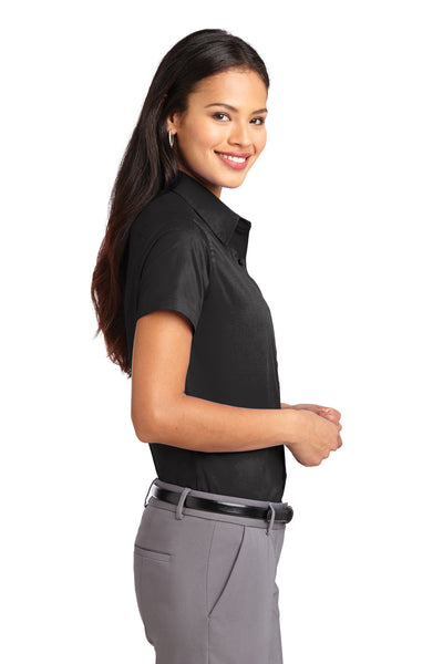 Port Authority L508 Womens Easy Care Wrinkle Resistant Short Sleeve Button Down Shirt Black Side
