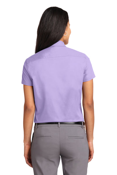 Port Authority L508 Womens Easy Care Wrinkle Resistant Short Sleeve Button Down Shirt Lavender Purple Back