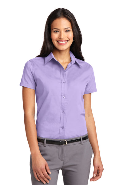 Port Authority L508 Womens Easy Care Wrinkle Resistant Short Sleeve Button Down Shirt Lavender Purple Front