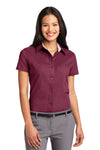 Port Authority L508 Womens Easy Care Wrinkle Resistant Short Sleeve Button Down Shirt Burgundy Front