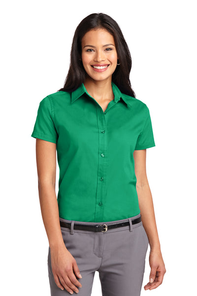 Port Authority L508 Womens Easy Care Wrinkle Resistant Short Sleeve Button Down Shirt Court Green Front