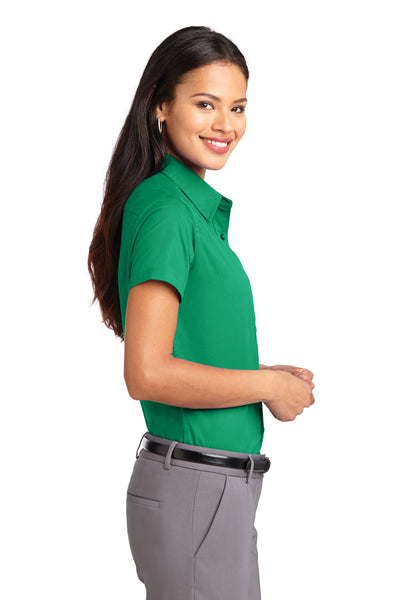 Port Authority L508 Womens Easy Care Wrinkle Resistant Short Sleeve Button Down Shirt Court Green Side