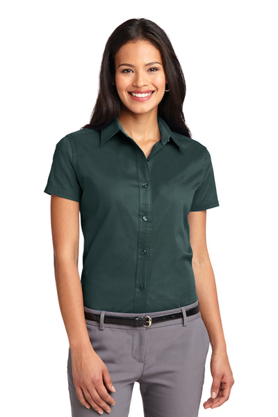 Port Authority L508 Womens Easy Care Wrinkle Resistant Short Sleeve Button Down Shirt Dark Green Front